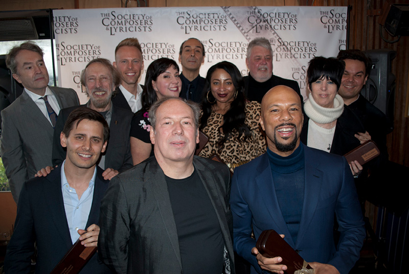 (Back row, from left) Carter Burwell, Justin Paul, Alexandre Desplat, SCL President Ashley Irwin, Robert Lopez; (center row, from left) Academy governor Charles Bernstein, Kristen Anderson-Lopez, Taura Stinson, Diane Warren; (front row, from left) Benj Pasek, Hans Zimmer, Common