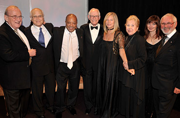 (From left) Larry Gelbart, Norman Lear, Quincy Jones, ASCAP Founders Award honoree Alan Bergman, Barbra Streisand, ASCAP Founders Award honoree Marilyn Bergman, Lari White and Norman Jewison (photo by Lester Cohen/Wireimage.com courtesy of ASCAP)