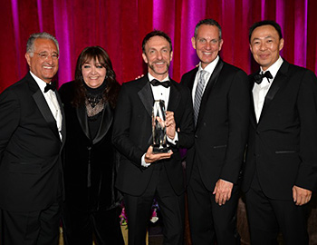 (L-R) BMI President Del Bryant; BMI Vice President, Film/TV Relations Doreen Ringer-Ross; Richard Kirk Award recipient Mychael Danna; BMI CEO Michael O\'Neill; and BMI Assistant Vice President, Film/TV Relations Ray Yee