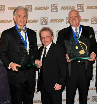 (Left to right) ASCAP Henry Mancini Award honoree Bruce Broughton, ASCAP President and Chairman Paul Williams, and ASCAP Golden Note Award Honoree Dennis McCarthy.