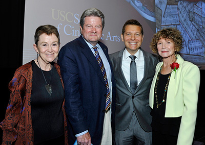 Dean Elizabeth Daley, Dan Carlin, Michael Feinstein and Bonnie Cacavas at the celebration of the John Cacavas Music Collection at USC's School of Cinematic Arts. (Photo by John Sciulli)
