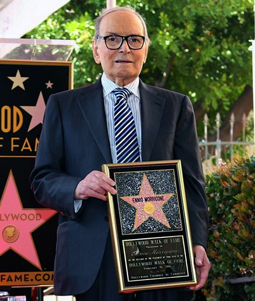 Ennio Morricone receives a star on the Hollywood Walk of Fame.