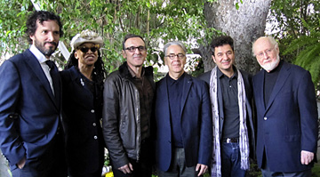 (Left to right) Bret McKenzie, Siedah Garrett, Alberto Iglesias, Howard Shore, Ludovic Bource and John Williams. (photograph by Marilee Bradford)