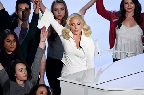 Lady Gaga performs 'Til it Happens to You,' an anthem for college campus rape survivors which she co-wrote with Diane Warren.  (Photo by Kevin Winter/Getty Images)