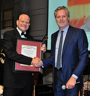 Honoree Conrad Pope with Warner Bros. Music president Paul Broucek