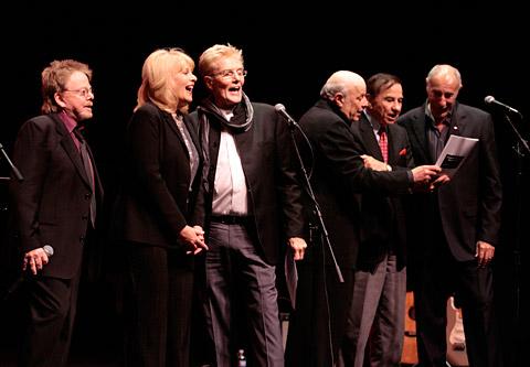 (Left to right) Paul Williams, Ilene Graff, Bob Crewe, Charles Fox, Richard Sherman and Jeff Barry sing Crewe\'s hit