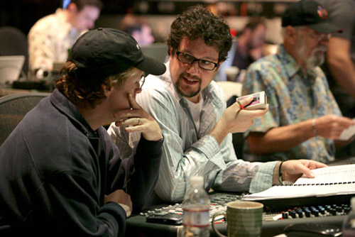 Michael Giacchino (center) during scoring session for Ratatouille