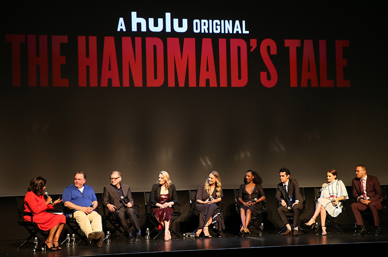From left: Mindy Kaling, Bruce Miller, Warren Littlefield, Elisabeth Moss, Yvonne Strahovski, Samira Wiley, Max Minghella, Madeline Brewer and O-T Fagbenle. (Photo by: Dan MacMedan/Hulu)