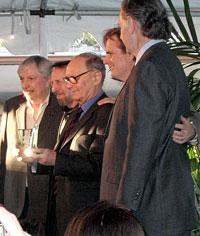 (Left to right) Arthur Hamilton, Charles Bernstein, Ennio Morricone, Dan Foliart, Bruce Broughton
