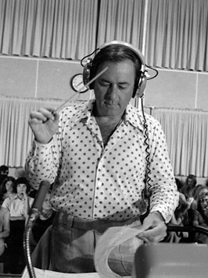 Stevens conducting a recording session for <i>Hawaii Five-0</i>.