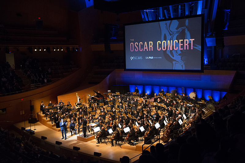Michael Giacchino with conductor Thomas Wilkins and the Los Angeles Philharmonic.