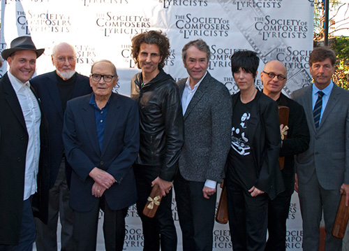 (Left to right) J. Ralph, John Williams, Ennio Morricone, Stephan Moccio, Carter Burwell, Diane Warren, David Lang, Thomas Newman (Photo by Marilee Bradford)